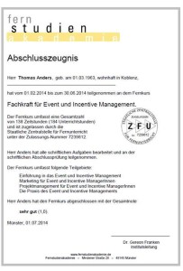 Zeugnis Event und Incentive Management
