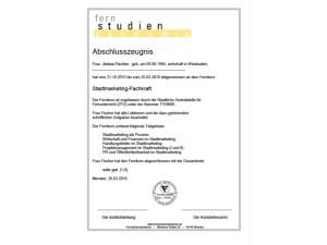 Abschlusszeugnis Stadtmarketing-Fachkraft